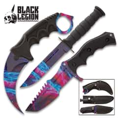Black Legion Galaxy Triple Knife Set - Karambit, Hunter Knife, Survival Knife, Stainless Steel Blades, TPU Handles, Nylon Sheaths