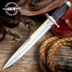 Gil Hibben Old West Toothpick Bowie Knife and Leather Sheath