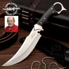 Gil Hibben Recurve Karambit Knife With Sheath - 5Cr15MoV Steel, Black Linen Micarta Handle Scales, Open Pommel - Length 11 1/2""