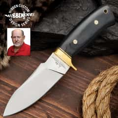 Hibben Chugach Hunter Knife With Sheath - 5Cr13 Stainless Steel Blade, Pakkawood Handle, Brass Hand Guard, Rosette Accents - Length 8 7/8""
