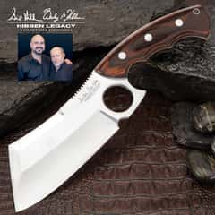 Hibben Legacy Bloodwood Cleaver Knife And Sheath - 5CR15MoV Stainless Steel Blade, Wooden Handle Scales - Length 10 3/4""