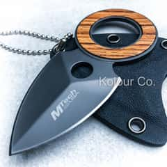 """4"""" Wood Fixed Blade Necklace Knife Spear Finger Hole Neck Tactical Combat New"""