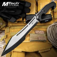 Black Ronin Stealth Machete And Sheath - Stainless Steel Blade, Black And Satin Finish, Wooden Handle - Length 16""