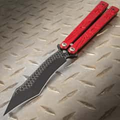 Red Dragon Butterfly Knife - Stainless Steel Blade, Molded Steel Handle, Latch Lock, Double Flippers - Length 9 1/4""
