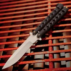 "Black Beast Butterfly Knife - Stainless Steel Blade, Skeletonized Handle, Latch Lock, Steel Handle, Double Flippers - Length 9"""