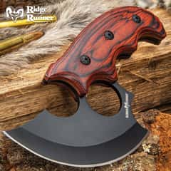 Ridge Runner Modified Ulu Knife With Sheath - Stainless Steel Blade, Full-Tang, Non-Reflective, Wooden Handle Scales - Length 6 1/2""