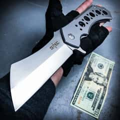 """Cleaver Satin Pocket Knife With Sheath - Stainless Steel Blade, Ball Bearing Assisted Opening - Length 12"""""""