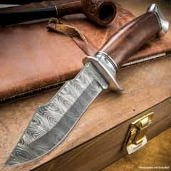 Timber Rattler Hidden Corral Skinner / Fixed Blade Knife with Nylon Sheath - DamascTec Steel Blade