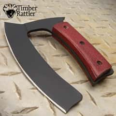 "Timber Rattler Ulu Knife With Sheath - Full-Tang Carbon Steel Blade, Black Finish, Burlap Micarta Handle Scales - Length 6 1/4"""