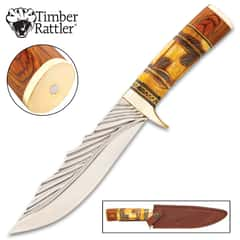 Timber Rattler Nairobi Hunter Knife With Sheath - Stainless Steel Blade, Camel Bone And Pakkawood Handle, Brass Guard - Length 12 1/4""