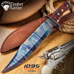 Timber Rattler Gunslinger Bowie Knife With Sheath - 1095 Fire Kissed Carbon Steel Blade, Steel Guard, Hardwood Handle - Length 16 1/2""