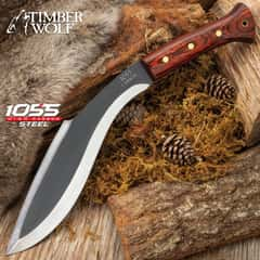 Timber Wolf Heart Of Darkness Kukri Knife With Sheath - Hand-Forged 1055 Carbon Steel Blade, Full-Tang, Wooden Handle Scales - Length 15""