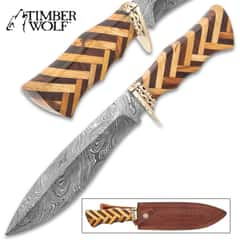 Timber Wolf Handcrafted Heartwood Knife And Sheath - Twist Pattern Damascus Steel Blade, Heartwood Handle, Brass Guard - Length 14 1/2""