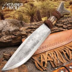 Timber Wolf Antler Fork Bowie Knife With Sheath - High Carbon Steel Blade, Genuine Horn Handle, Leather Accents - Length 14""
