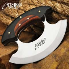 Timber Wolf Shredder Ulu Knife With Sheath - Stainless Steel Blade, Wooden Handle Scales, Brass Pins - Length 3 3/4""