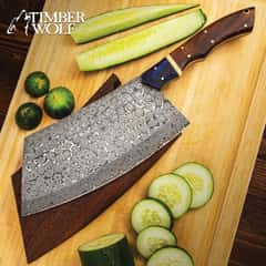 Timber Wolf Cleaver Butcher Knife II With Wooden Sheath - Damascus Steel Blade, Full-Tang, Wooden Handle, Brass Pins - Length 13 3/4""
