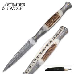 Timber Wolf Full Tang Damascus and Stag Dagger with Sheath