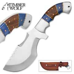 Timber Wolf Washakie Tracker / Fixed Blade Knife with Leather Sheath