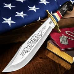 Timber Wolf 2018 American Veteran Bowie Knife - Stainless Steel Blade, Bone And Wooden Handle, Brass Guard And Pins - Length 16""