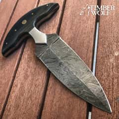 Timber Wolf Damascus And Linen Micarta Push Dagger - Damascus Steel Blade, Linen Micarta Handle, Brass Pins, Rosettes - Length 7 3/4""