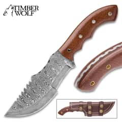 Timber Wolf Walkabout Fixed Blade Knife - Hand Forged Damascus Steel - Full Tang - Burlap Micarta - Genuine Leather Sheath - Bowie Tracker Survival Multipurpose Utility Outdoors Chop Saw - 9 3/4""