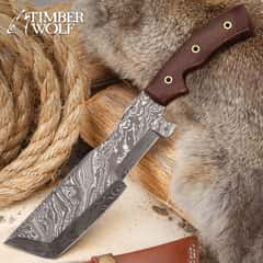 """Timber Wolf Alsatian Tracker Knife With Sheath - Damascus Steel Blade, Full-Tang, Micarta Handle Scales, Lashing Holes - Length 12"""""""