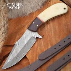 Timber Wolf Oryx Hunter Knife With Sheath - Damascus Steel Blade, Almond Wood And Bone Handle, Brass Pins - Length 8 1/2""