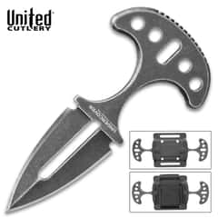 United Cutlery Undercover Stonewashed Twin Push Daggers With Sheath - One-Piece Stainless Steel Construction, Double-Edged - Length 3 3/4""