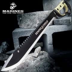 USMC Semper Fi Sawback Machete Knife With Sheath - Stainless Steel Blade, Rubberized Injection-Molded Handle - Length 24""