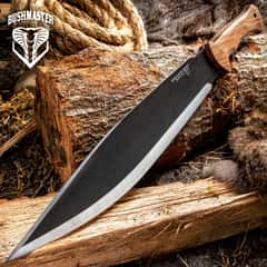 "Bushcraft Explorer Smatchet With Sheath - Carbon Steel Blade, Hardwood Handle, Brass Pins, Lanyard Hole - Length 19 1/4"""