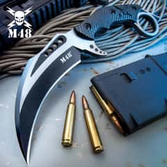 M48 Liberator Falcon Karambit Knife And Sheath - Cast Stainless Steel Blade, Black Oxide Coating, Injection Molded Nylon Handle - Length 10""