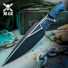 """M48 Liberator Sabotage II Combat Knife With Sheath - Cast Stainless Steel, Black Oxide Coating, Layered G10 Handle - Length 13 1/2"""""""