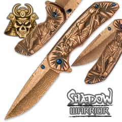 Shadow Warrior Assisted Opening Pocket Knife | DamascTec Steel Blade | Gold And Blue