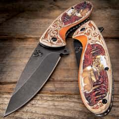 Standing Stag Assisted Opening Pocket Knife - Stonewashed Stainless Steel Blade, TPU Handle Scales, 3-D Artwork, Pocket Clip