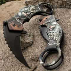 Grim Reaper Folding Karambit Knife - 3Cr13 Stainless Steel Blade, Non-Reflective Finish, Aluminum Handle, Molded Handle Scale