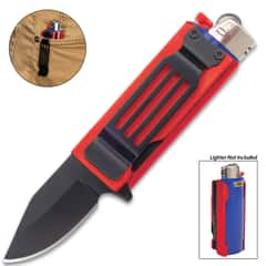 Red Lighter Caddy And Pocket Knife - Black Stainless Steel Blade, Black Aluminum Handle, Assisted Opening - Closed Length 2 1/2""