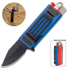 Blue Lighter Caddy And Pocket Knife - Black Stainless Steel Blade, Black Aluminum Handle, Assisted Opening - Closed Length 2 1/2""