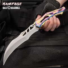 Rampage Hercules Pocket Knife - 3Cr13 Stainless Steel, Stainless Steel Handle, Rainbow Titanium Finish, Ball Bearing, Pocket Clip