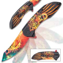 Blazing Tiger Assisted Opening Pocket Knife - Stainless Steel Blade, Vivid Artwork, Printed TPU Handle, Pocket Clip