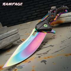 """Rampage Rainbow Tailwind Ball Bearing Pocket Knife - Stainless Steel Blade, Aluminum And Steel Handle, Pocket Clip - 4 3/4"""" Closed"""