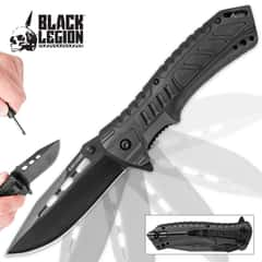 Black Legion Black Pocket Knife With Fire Starter