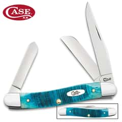 Case Caribbean Blue Medium Stockman Pocket Knife - Surgical Stainless Steel Blade, Jigged Bone Handle Scales