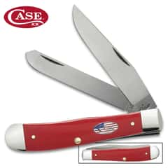 Case American Red Workman Trapper Pocket Knife - Stainless Steel Blades, Synthetic Handle Scales - Closed 4 1/8""