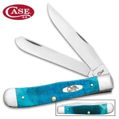 Case Caribbean Blue Trapper Pocket Knife - Surgical Stainless Steel Blade, Jigged Bone Handle Scales