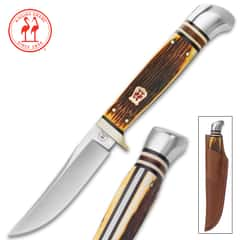 Kissing Crane Amber Bone Hunter Knife