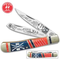 Kissing Crane Ulysses S Grant Trapper Pocket Knife - Stainless Steel Blades, Genuine Bone And Pearl Handle Scales, Nickel Silver Bolsters