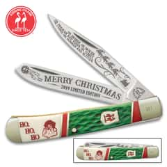 Kissing Crane 2019 Christmas Trapper Pocket Knife - Stainless Steel Blades, Bone Handle Scales, Nickel Silver Bolsters, Brass Liners