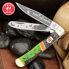 Kissing Crane 2019 Halloween Trapper Knife - Stainless Steel Blades, Bone Handle, Nickel Silver Bolsters, Brass Liners