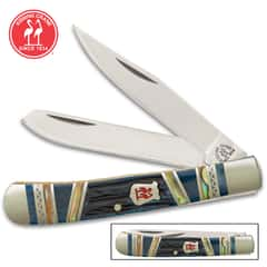 Kissing Crane Blue Ridge Mountains Trapper Pocket Knife - Stainless Steel Blades, Genuine Jigged Bone Handle Scales, Nickel Silver Bolsters