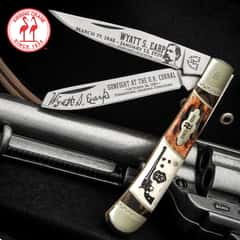 Kissing Crane Wyatt Earp Trapper Pocket Knife - Stainless Steel Blades, Bone Handle Scales, Nickel Silver Bolsters, Brass Pins